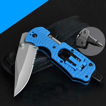 Multi-Function Folding Tools, Outdoor Camping EDC Survival Rescue Tool Knife With LED Lights Multi-Functional Screwdriver
