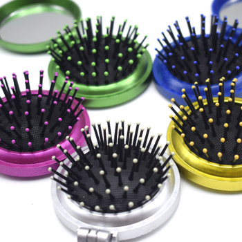 1 Pcs New Girls Portable Mini Folding Comb Airbag Massage Round Travel Hair brush With Mirror Cute Round Hair