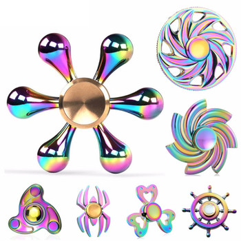 Fidget Spiners Colorful Star Batman heart shape Rainbow Wheel Alloy Metal Finger Hand Spinner Anti Stress relief gift Toy LED