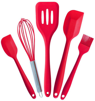 5Pcs Silicone Pastry Cook Baking Set Kitchen DIY Cooking Tools Pastry Oil Utensil Basting Brush Spatulas