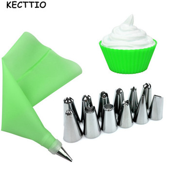 14PCS/Set Silicone Icing Piping Cream Pastry Bag + 12pcs Stainless Steel Nozzle Tips Set+ 1pc Coupler Cake Decorating Tool
