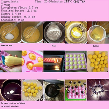 8.8*7.2inch Food Grade Silicone Lollipop Mold Pop Cupcake Chocolate Mold Lollipop Cake Mold