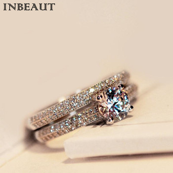 INBEAUT Women Wedding Ring Set Sparkling Perfect Round Cut Zircon Stone Rings Female Party Jewelry 2 Color Silver&Rose Gold