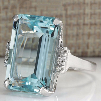 Big Blue CZ Cubic Zircon Stone Silver Rings for Women Fashion Jewelry Valentines Day Gift
