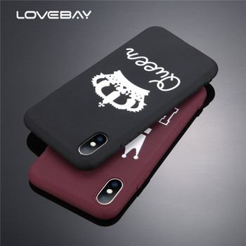 Lovebay Candy Color King Queen Crown Phone Cases For iPhone X Case For iphone 8 7 6 6s Plus Chic Plain Soft TPU Cover Back Case