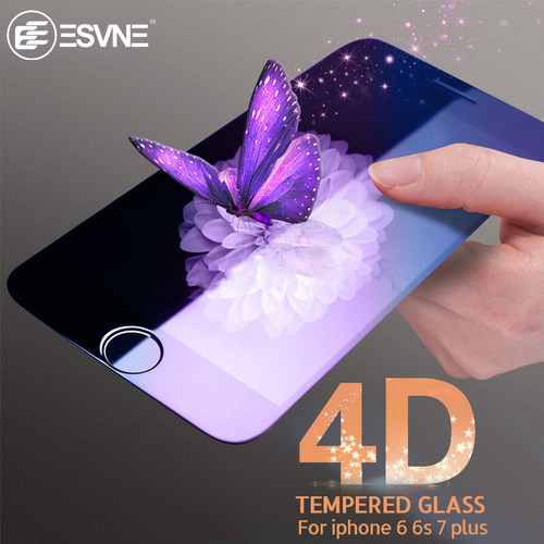 ESVNE 9H Protective 4D Curved Edge Full Cover Tempered Glass for iphone 6 glass iPhone 7 glass 6s 7 plus Screen Protector Film
