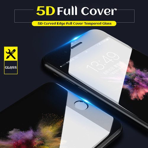 5D Curved Edge Protective Tempered Glass For iPhone 6 glass 9H Hardness iPhone 7 glass 6s 8 Plus Screen Protector HD Full Cover