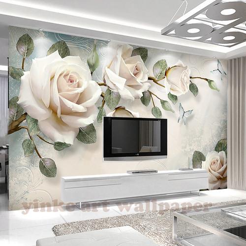 Custom Photo Wallpaper painting 3D white rose Flowers Wall Murals Living Room TV Sofa Backdrop Wall Paper Modern Home Decor Room