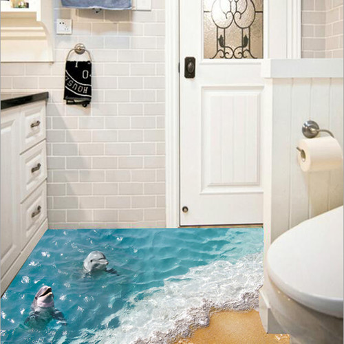 3D Dolphin Floor Stickers Beautiful Sea Wall Sticker Cute Waterproof PVC Bathroom Decor Sticker Eco-friendly Kids Wall paper