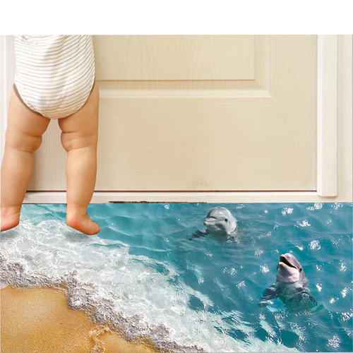 3D Dolphin Floor Stickers Beautiful Sea Wall Sticker Cute Waterproof PVC Bathroom Decor Sticker Eco-friendly Kids Wall paper