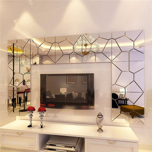 7Pcs 18*18cm Moire Pattern Quare Mirror Tile Wall Stickers 3D Decal Mosaic Home Decoration DIY For Living Room Porch