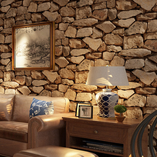 Vintage Wall Paper Waterproof Wall Papers Home Decor 3D Imitation Rock Stone Vinyl Wallpaper For Walls Papel De Parede 3D