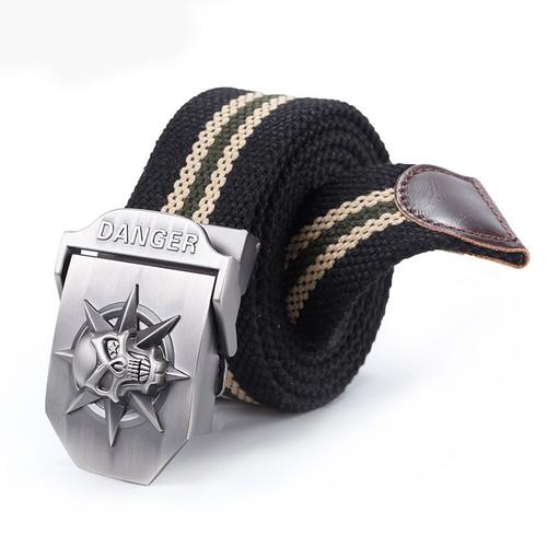 Automatic buckle belt, skull head and thick canvas belt wholesale men's belt leisure belt