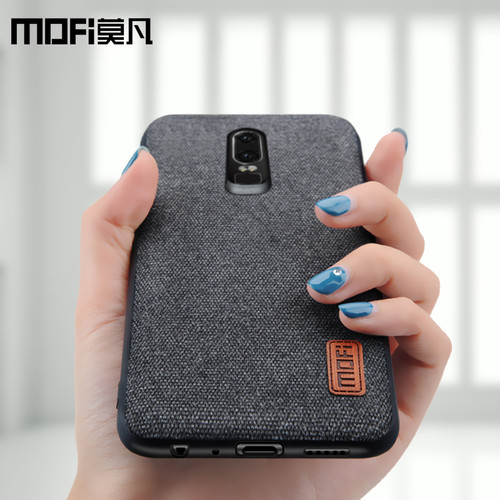 oneplus 6 case cover one plus 6 back cover silicone edge men business fabric shockproof case coque MOFi original 1+6 case