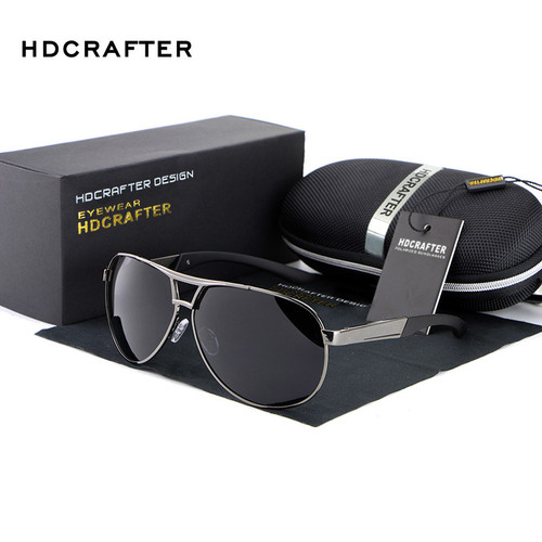 HDCRAFTER Fashion Men's UV400 Sunglasses 2016 New Mirror Eyewear Sun Glasses For Men With Case Box oculos de sol feminino ABS-3