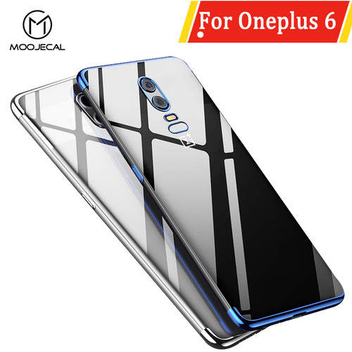 MOOJECAL For Oneplus 6 Smart Phone Cases Clear Plating Soft Cover For One Plus 6 Case Protective Back Cover For Oneplus 6