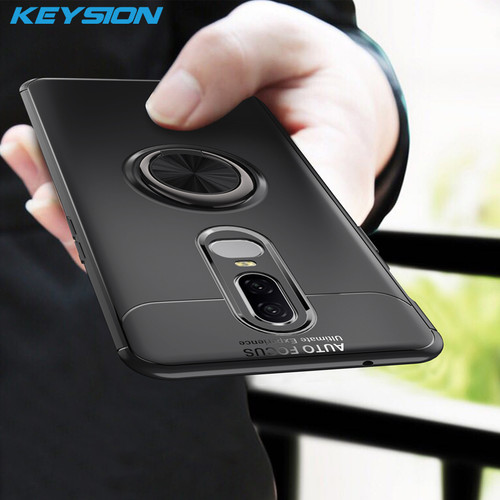 KEYSION Luxury Ring Holder Phone Case For Oneplus 6 Magnetic Car Stand Soft Silicone Matte Cover For One Plus 6 1+6 Case Capa