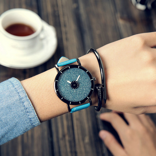 2019 PINBO HOT fashion Starry sky women watches luxury quartz leather strap colock watch A9 Ladies wristwatches reloj mujer