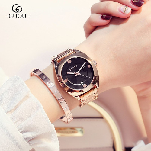 GUOU Watch Women Top Luxury Steel Bracelet Auto Date Women Watches Fashion Exquisite Ladies saat relogio feminino reloj mujer