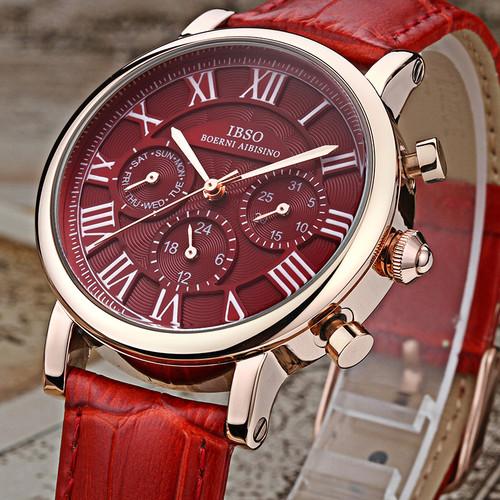 IBSO Vintage Red Leather Women Watches 2018 Luxury Brand Calendar Multifunction Quartz Watches Ladies Wrist Watch Montre Femme