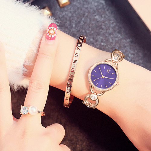 Shengke Luxury Women Watch Famous Brands Gold Fashion Creative Bracelet Watches Ladies Women Wrist Watches Relogio Femininos SK