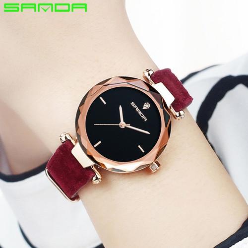 SANDA Fashion Simple Stly Women Watches Luxury Golden Genuine Leather Ladies Watch Women Gold Dress Clock relogio feminino P218