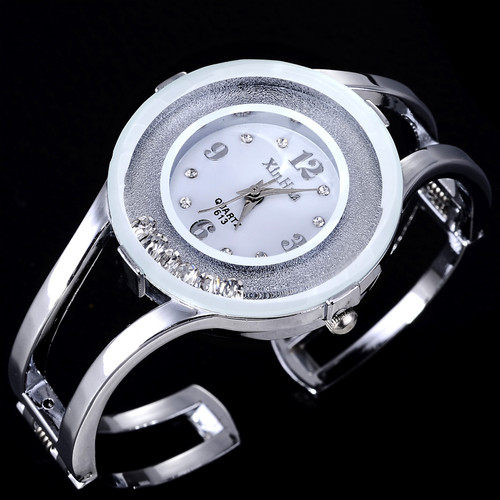 2018 XINHUA Fashion Watches Women Stainless Steel Bracelet Bangle Rhinestone Luxury Party Dress Female Clock Relogios Feminino