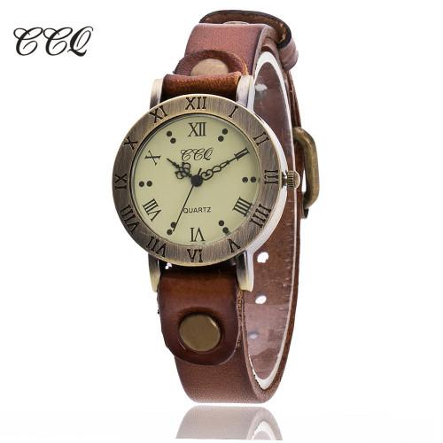 CCQ Brand Vintage Cow Leather Bracelet Watch Women WristWatch Casual Luxury Quartz Watch Relogio Feminino