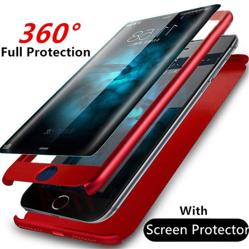 H&A Fashion 360 Degree Full Body Cover Case For iPhone 6 6s 7 8 Plus Phone Cases For iPhone 7 5 5s SE Cover Shell Tempered Glass