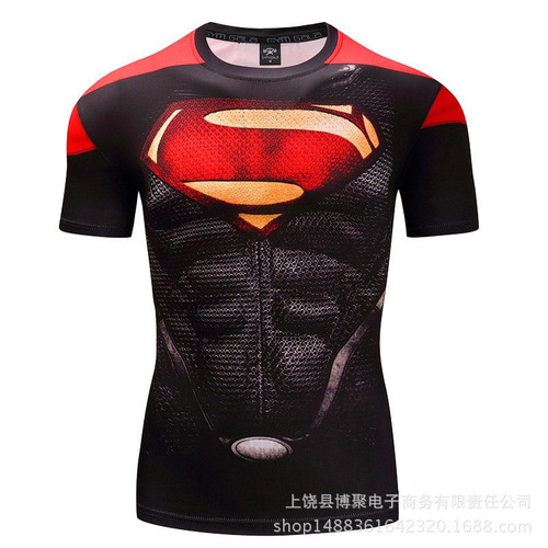 men t-shirt Tights 2018 new Superman/Batman/spider man/captain America /Hulk t shirt compression Fast drying fitness men t shir