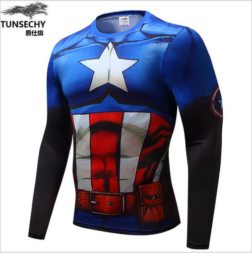 2018 NEW Top quality compression t-shirts Superman/spider man/captain America  t shirt man shirts man t shirts Free shipping