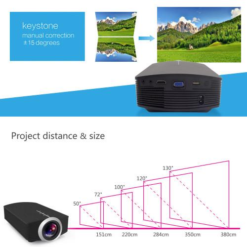 AAO YG500 Upgrade YG510 Mini Projector 1080P 1800Lumen Portable LCD LED Projector Home Cinema USB HDMI 3D Beamer Bass Speaker