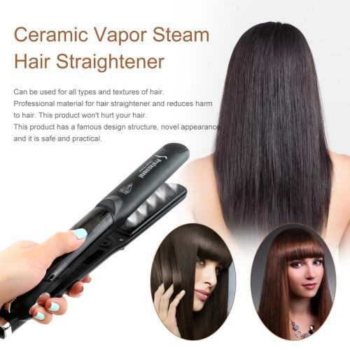 Professional Dual Use Ceramic Vapor Steam Hair Straightener Salon Personal Use Hair Straightening Iron Styling Tool Box Pack