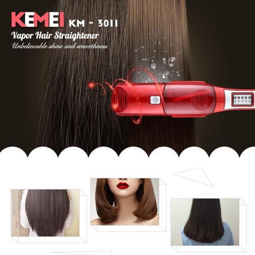 Kemei Ceramic Steam Vapor Hair Straightener Professional Flat Iron Spray Straightening Iron Hair Iron Fast Heating Styling Tool