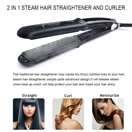 Professional Vapor Salon Ceramic Steam Hair Straightener Irons Steam Flat Iron Vapor Fast Heating Hair Care Styling Tools