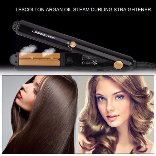 Professional Tourmaline Ceramic Steam Hair Straightener Argan Oil Vapor Steam Hair Iron Fast Hair Straightening Iron