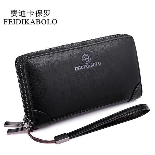 FEIDIKABOLO Double Zipper Clip Wallets Men Clutch Bags PU Men's Leather Wallet Long Male Purse Man Handy Bags Carteira Masculina