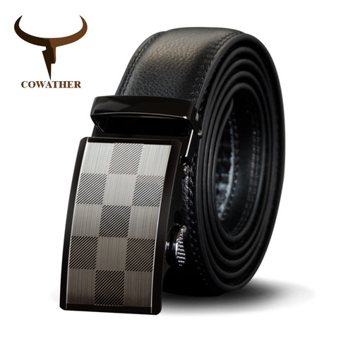 COWATHER High Quality Cow Genuine Leather Men Belt Cowhide Male Strap Automatic Buckle Belts Fashion New Alloy Buckle Men Straps