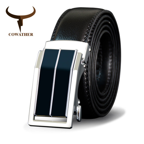COWATHER Men Belts Cow Genuine Leather Belt For Men Metal Automatic Buckle Male Strap High Quality Cowhide Male Newest Waistband