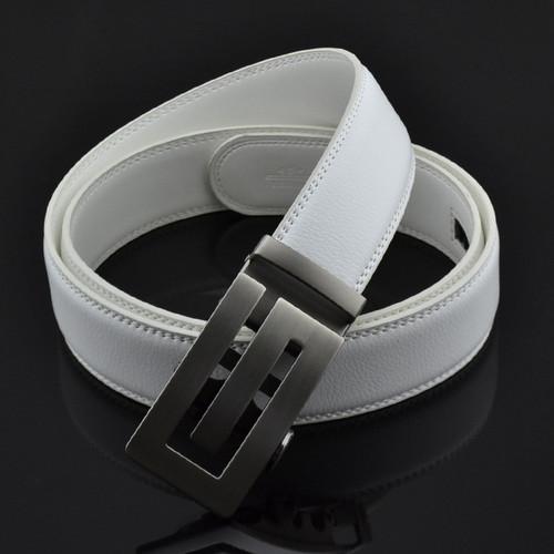 ZAYG Fashion Designer Men Alloy Automatic Steel Buckle White Belts Men High Quality Classic Leisure Ratchet Sliding Buckle