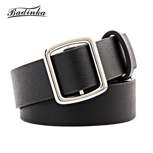 Badinka 2018 New Black Red White Wide Faux Leather Waist Belt Female Ladies Pin Buckle Trousers Jean Strap Belts for Women