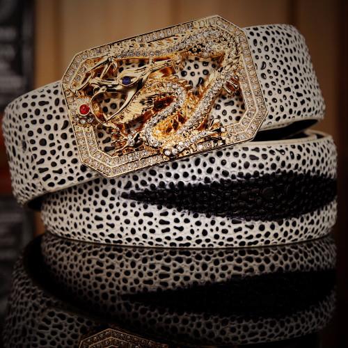 pearl fish mens belt luxury cowhide genuine leather 2018 new style hot designer high quality dragon thin white orange rhinestone