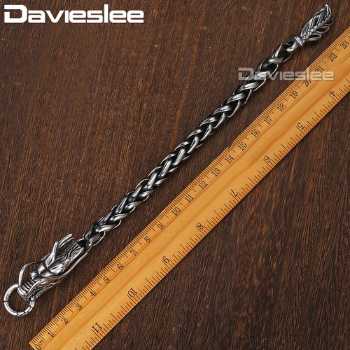 Davieslee Dragon Head Men's Bracelet Male 316L Stainless Steel Bracelet Wheat Link Chain Punk Jewelry 9mm 21.5cm DLHB450