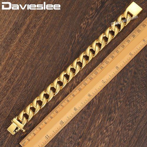 Davieslee Mens Bracelet Heavy Gold Color Chain 316L Stainless Steel Curb Link Wholesale Fashion Jewelry Gift 13mm LHB123