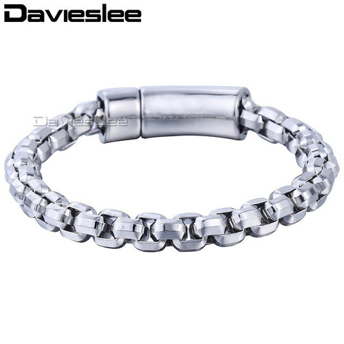 Davieslee Mens Bracelet Wristband Bangle 316L Stainless Steel Cut Box Link Chain Silver Tone 8mm LHB464