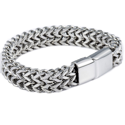 Davieslee Mens Wristband Foxtail Box Link 316L Stainless Steel Bracelet Bangle (12mm Wide ) DLHB343