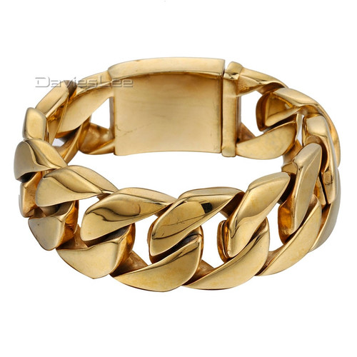 23mm Wide Heavy Thick Gold Tone Gold Color Round Curb Mens Chain 316L Stainless Steel Bracelet Wholesale Gift Jewelry LHB321