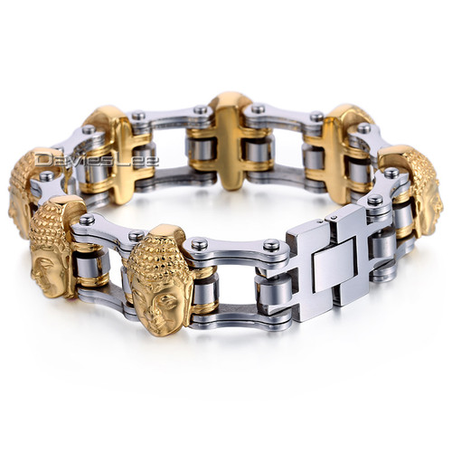 21mm 7 Buddha Heads Silver Gold Biker Motorcycle Link Chain 316L Stainless Steel Bracelet Boys Mens Jewelry Wholesale LHB451
