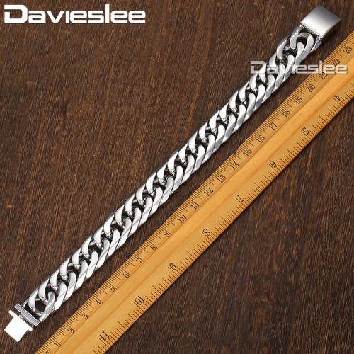 Davieslee Curb Cuban Link Men's Bracelet Chain 316L Stainless Steel Gold Silver 16mm DHBM115