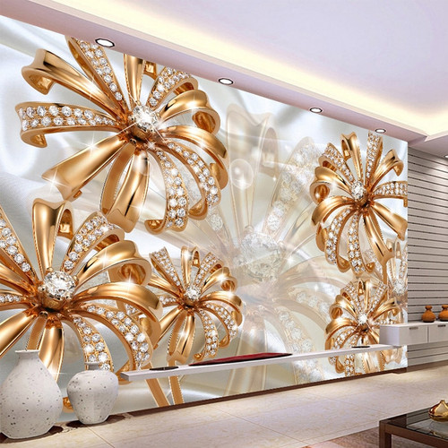 Custom Photo Wallpaper 3D Stereo Gold Diamond Flower Jewelry Mural Living Room TV Sofa Background Wall Luxury Papel De Parede 3D